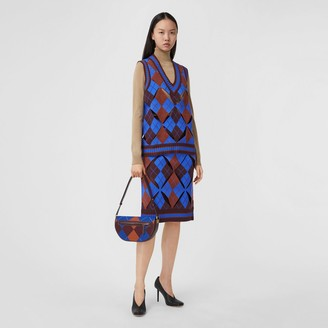 Burberry Cut-out Detail Argyle Technical Wool Jacquard Skirt