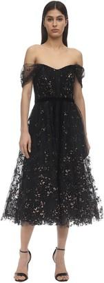 Marchesa Off-the-shoulder Flocked Tulle Dress