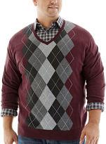 Claiborne V-Neck Argyle Sweater-Big & Tall