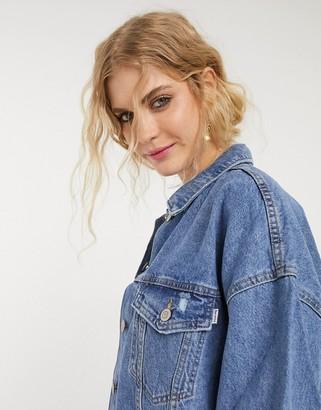 Bershka oversized denim jacket in medium blue