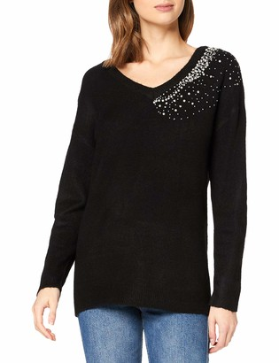 Dorothy Perkins Women's Black V-Neck Embellished Jumper Pullover Sweater X-Large