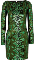 Roberto Cavalli Cutout Sequined Silk-chiffon Mini Dress - Green