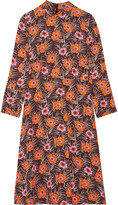 Marni Floral-print faille midi dress