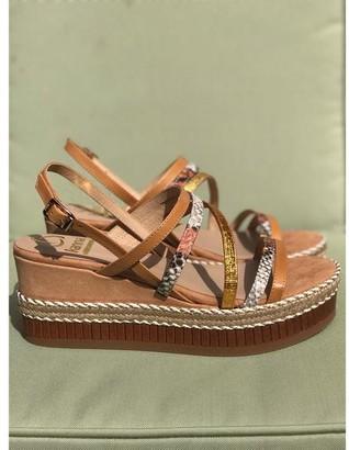 Kanna Combi Snake Print Tan Metallic Wedge Sandals - 38