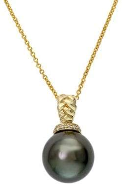 Effy 14K Yellow Gold Black Tahitian Pearl and Diamond Pendant Necklace