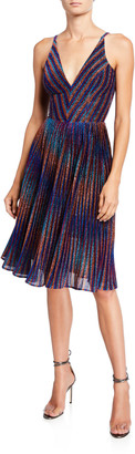 Dress the Population Haley Metallic Striped V-Neck Sleeveless Pleated Dress