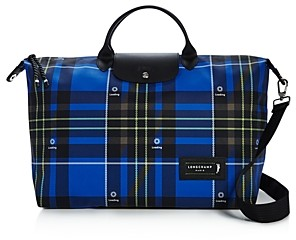 Longchamp Green District Large Plaid Weekender Bag