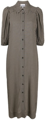 Ganni Grid Pattern Shirt Dress