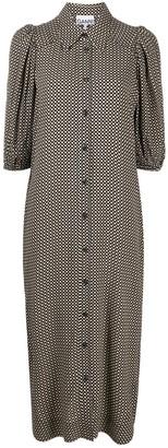 Ganni Grid Pattern Shirt Dress