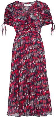 Diane von Furstenberg Eleonora Ruched Printed Silk-georgette Midi Dress