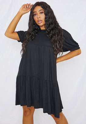Missguided Plus Size Black Puff Sleeve Smock Dress