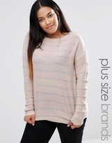 Brave Soul Plus Sweater With Metallic Stripe