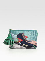 Courtney Valentine-Print Canvas Clutch