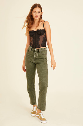 BDG High-Waisted Slim Straight Jean Washed Green