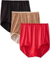 Bali Designs Bali Women's Skimp Skamp Brief Panties (3-Pack), Nude/Moonlight/Lace Print