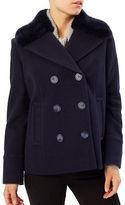 Precis Petite Petite Mary Faux Fur Collar Wool Coat