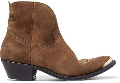Golden Goose Young Embellished Embroidered Suede Ankle Boots - Brown