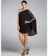 ABS by Allen Schwartz black stretch jersey embellished one shoulder dress
