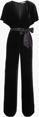 Alice + Olivia Breanna Wrap-effect Satin-trimmed Velvet Jumpsuit
