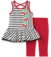 Kids Headquarters Black Stripe Tank & Red Capri Pants - Infant & Toddler