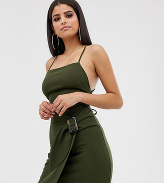 Asos Tall DESIGN Tall strappy back wrap mini dress with tortoise shell buckle-Green