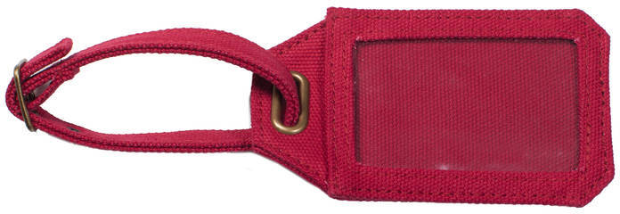 Men's Society Luggage Tag In Red Canvas