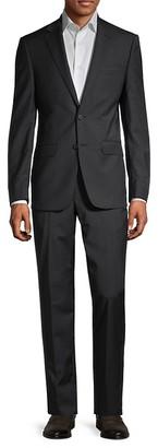 Calvin Klein Slim-Fit Black Plaid Wool Suit