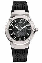 Salvatore Ferragamo 33mm F-80 Watch w/ Rubber Strap, Black