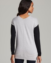 Vince Camuto Two by V Neck Contrast Sleeve Sweater