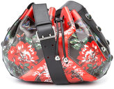 Alexander McQueen floral patch drawstring bag - women - Cotton/Goat Skin - One Size