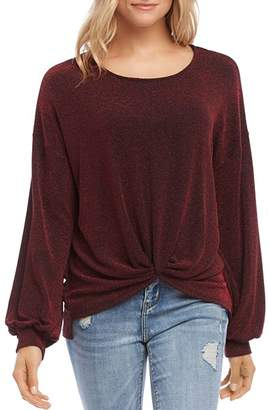 Karen Kane Sparkle Knit Twist-Front Top