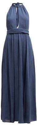 Mara Hoffman Linny Halterneck Plisse Voile Dress - Womens - Blue