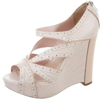 Christian Dior Embossed Wedge Sandals