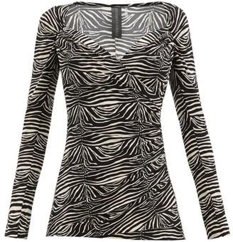 Norma Kamali Sweetheart-neck Zebra-print Jersey Top - Animal