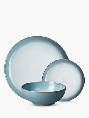 Denby Azure Haze Coupe Dinnerware Set, Blue, 12 Pieces
