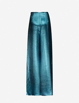 Roland Mouret Harrison metallic flared high-rise silk-blend trousers