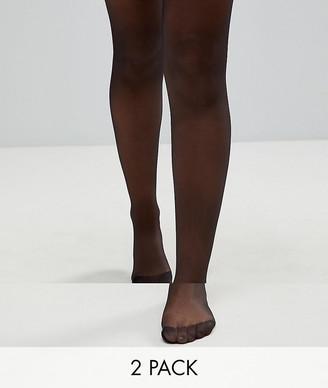 ASOS DESIGN 2 pack 15 denier black tights