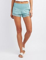 Charlotte Russe Crochet Smocked Waist Shorts
