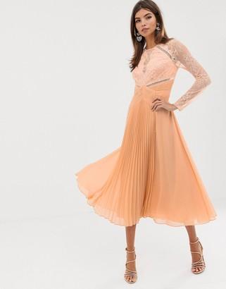 Asos DESIGN long sleeve lace paneled pleat midi dress