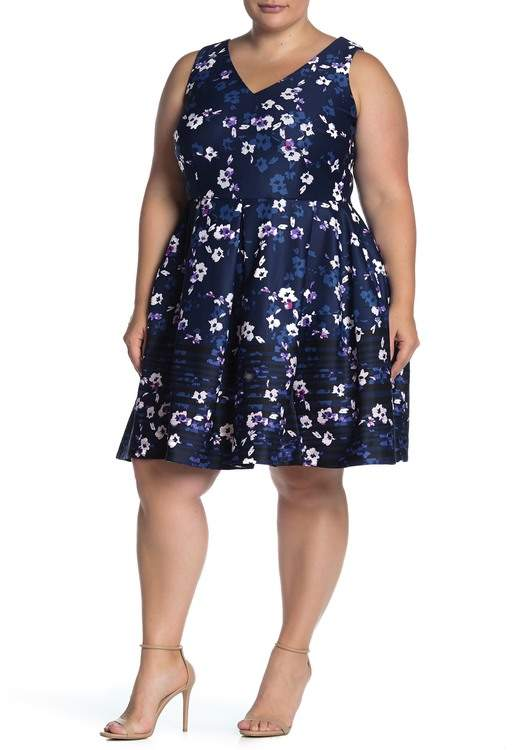 Floral Sleeveless Scuba Dress (Plus Size)