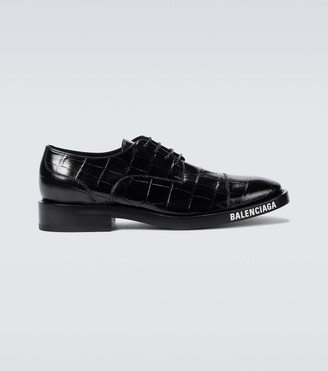 Balenciaga Leather croc-effect Derby shoes