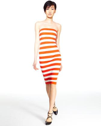 Robert Rodriguez Striped Strapless Dress