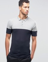 Asos Muscle Fit Knitted Polo in Color Block