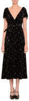 Valentino Short-Sleeve Glitter Star-Print Midi Dress, Black