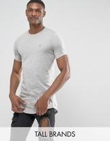 Le Breve Tall Logline Curved Hem Twill Shoulder T-shirt