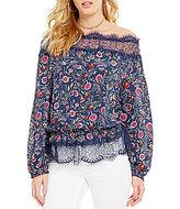 Jessica Simpson Frannie Floral Off-The-Shoulder Lace-Trimmed Blouse