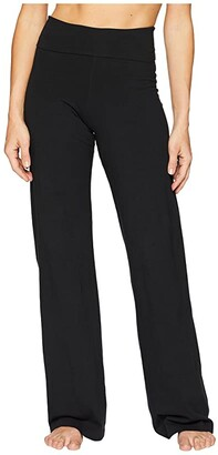 Hard Tail Contour Rolldown Wide Leg Pants (Black) Women's Clothing