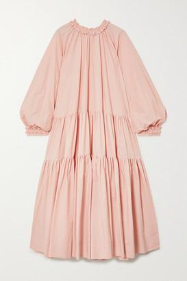 MINJUKIM Oversized Ruffled Tiered Cotton-poplin Midi Dress - Blush