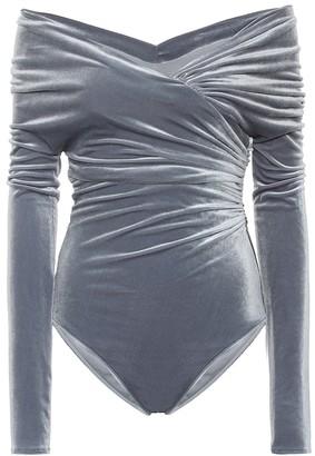 Alexandre Vauthier Off-the-shoulder velvet bodysuit