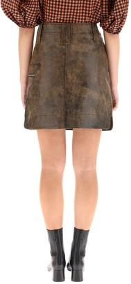 Ganni Mini Skirt In Vintage Leather